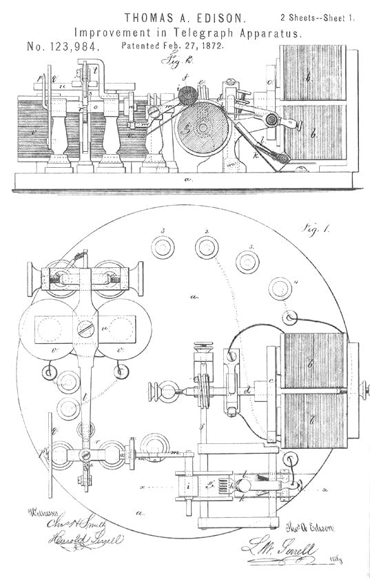 Thomas Edison Patent Drawing